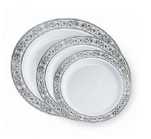 royalty High End Plastic Plates  White/Silver 120 Count