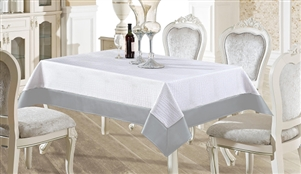 White & Silver Faux Leather Tablecloth - Luxury Table Covers