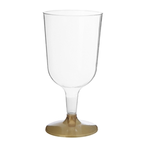 Disposable Plastic Wine Cups With Gold Base - 6 Per Pack
