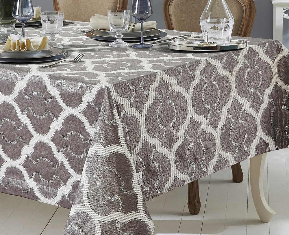 Sienna White Gray Reversible Tablecloth Discount Luxury