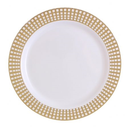 "10.25"" Gold Signature Collection High quality Plastic Plates 10 count"