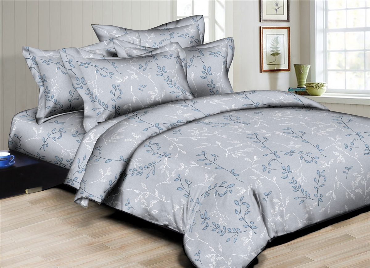 Grayish Stems  6PC Twin Bedding Set