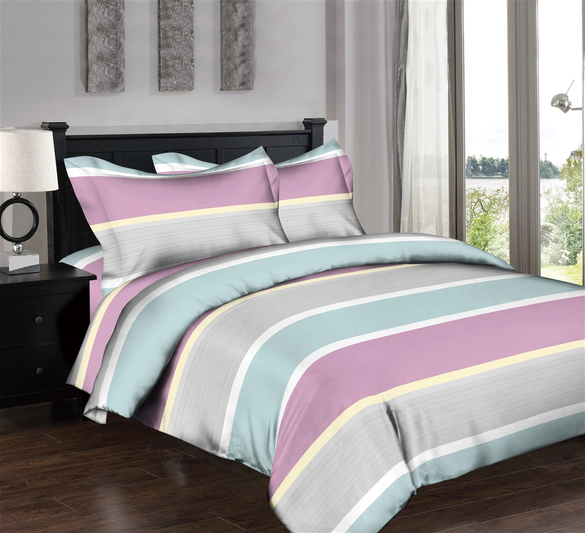 Superity Linen: Pastel Stripes Pink 6pc Twin Bedding Set