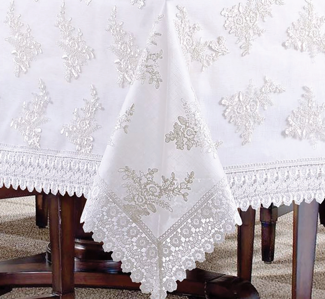Stockholm Luxury Tablecloth In White Discount Luxury