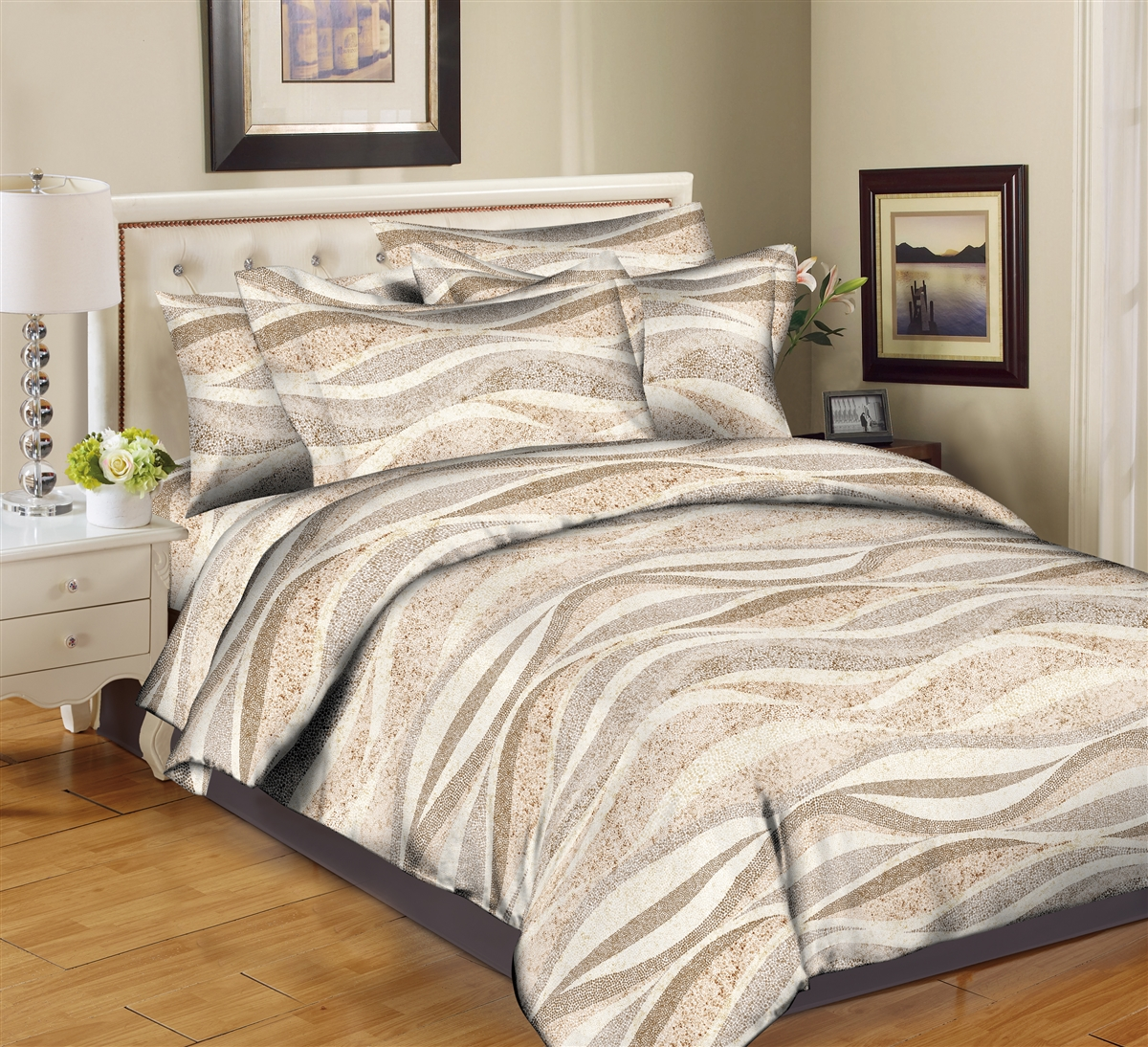 Better Bed Collection: Sandy Waves-Beige 8PC Twin Bedding Set