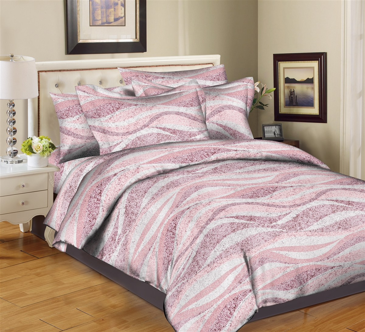 Better Bed Collection: Sandy Waves- Pink 8PC Twin Bedding Set