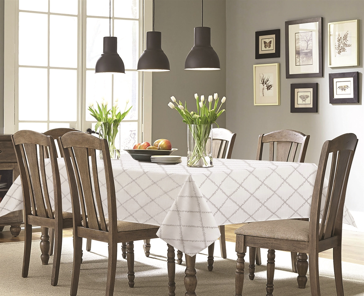 Santa Fe Elegant Tablecloth In Ivory Or Gray - Luxury Table Covers