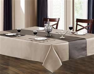 Sonoma Beige & Chocolate Grey Faux Leather Tablecloth, Ivory and Gold alligator skin faux leather vinyl feel tablecloth, leather tablecloths, leather table linens