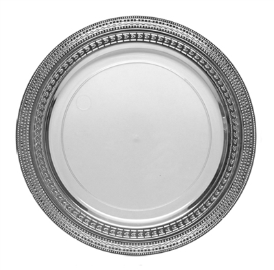 Premium Disposable Dishes - Clear/Silver - Symphony Collection - 10 Count, Symphony collection clear and silver plastic party plates, Fancy disposable dinner plates for weddings