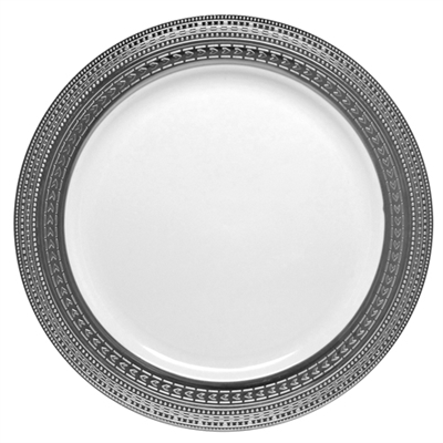 Symphony Collection White and Silver Plastic Plates, Fancy disposable dinner plates