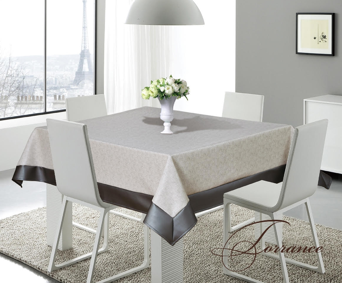 Torrance Gray U0026 Silver Faux Leather Tablecloth, Sandy Gray Beige And Silver  Faux Leather Classy