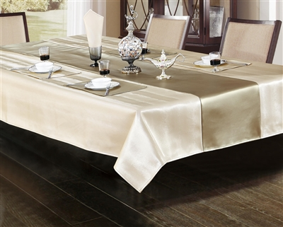 Ventura Faux Leather Ivory & Platinum Tablecloth