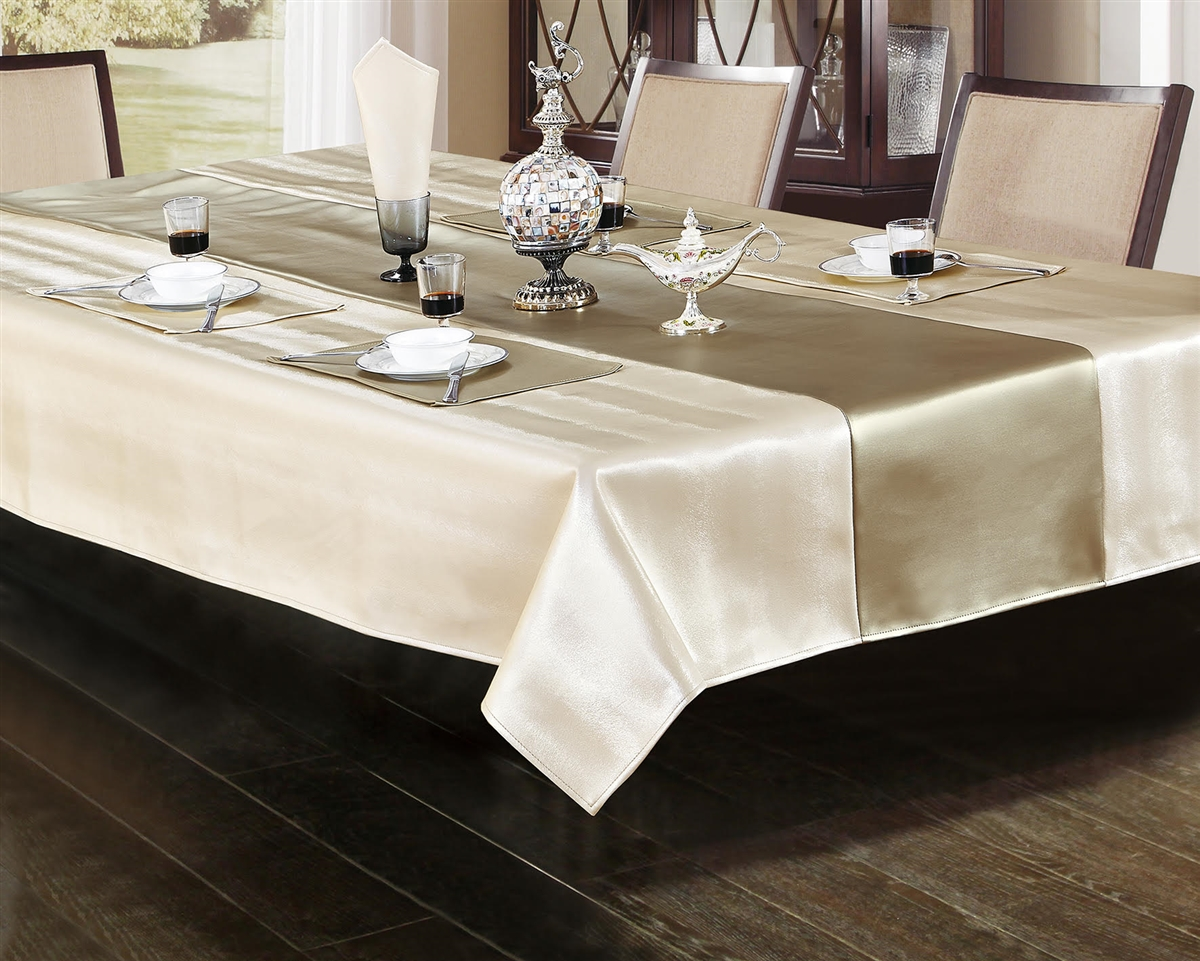 Ventura Faux Leather Ivory & Platinum Tablecloth - Luxury Table Covers