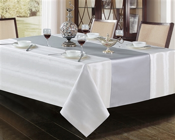 Ventura Faux Leather white & silver Tablecloth - Luxury Table Covers