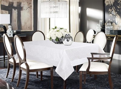 White Label Damask Tablecloth, vintage table linen