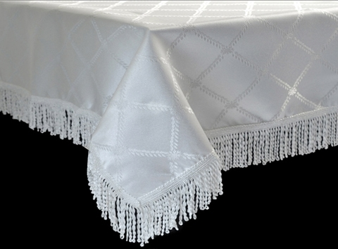White tablecloth with a beautiful diamond damask design. Larger Photo Email A Friend & Diamond Damask Tablecloth By Violet Linen - Available In White \u0026 Beige