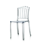 Design Guild Zephyr Transparent Clear Chair, Lucite chairs, translucent chair, modern heavy duty plastic chair