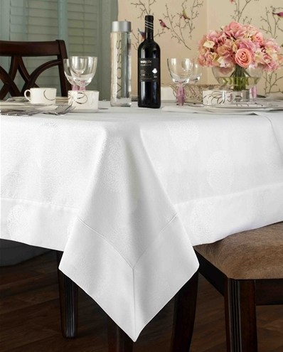 Zurich Spill Proof Tablecloth   Available In White Or Gold