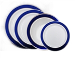 Glamour Collection White w/ Silver and Metallic Blue Plastic Plates - 10 Count - Choose Plate Size