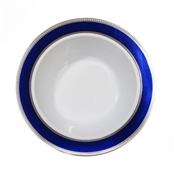 Glamour Collection White w/ Silver and Metallic Blue Plastic Bowls - 10 Count - Choose Bowl Size
