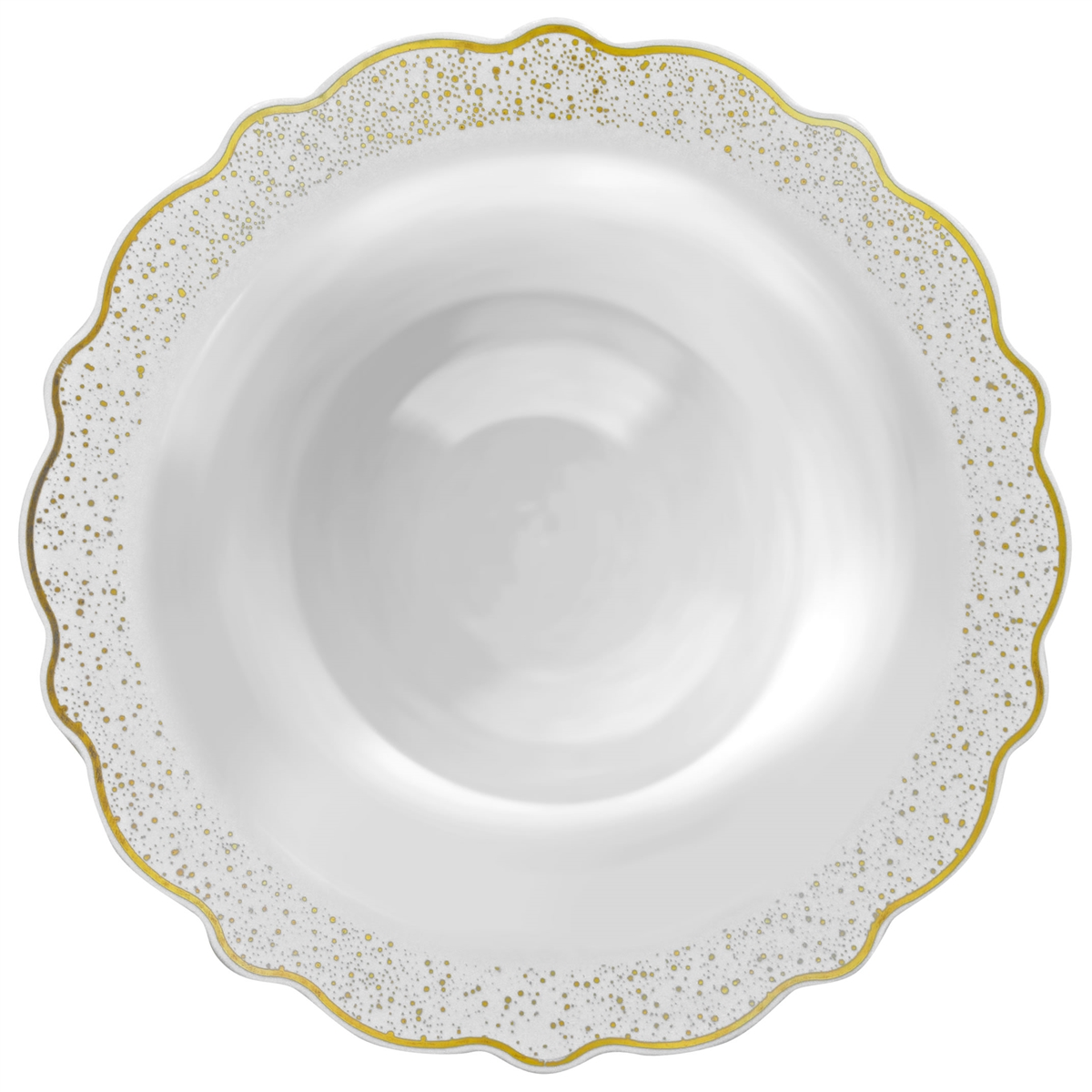 Baroque Collection 12oz Soup Salad Bowls White With Silver Trim