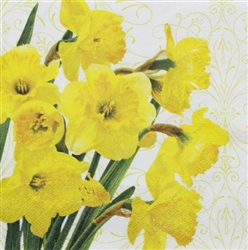 Yellow Daffodils Decorative Napkins - 20 count, Decorative Paper Napkins