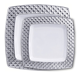 Decor Diamond Collection White/Silver Plastic Plates - 120 Count - Choose plate size