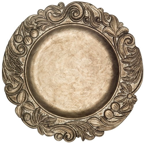 Bronze Flower Rim Charger, Decorative Tableware Accessories