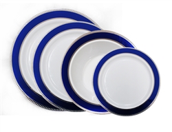 Glamour Collection White w/ Silver and Metallic Blue Plastic Plates - 120 Count - Choose Plate Size
