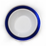 Glamour Collection White w/ Silver and Metallic Blue Plastic Bowls - 120 Count - Choose Bowls Size