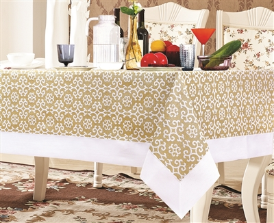 Gold and White Snowflake Damask Tablecloth