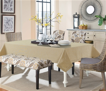 Gold Linen Like Tablecloth - Luxury Table Covers