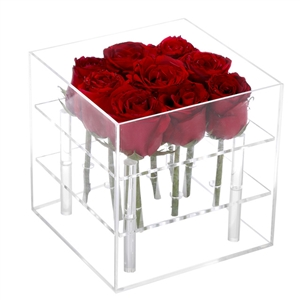 Acrylic  flower box lucite 9 holes box  lucite 16 flower holder.