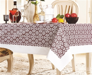Red & White Snowflake Damask Tablecloth - Luxury Table Covers