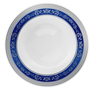 Royal Collection White w/ Silver and Blue Royal Border Plastic Soup Bowl - 10ct - Choose Bowl Size