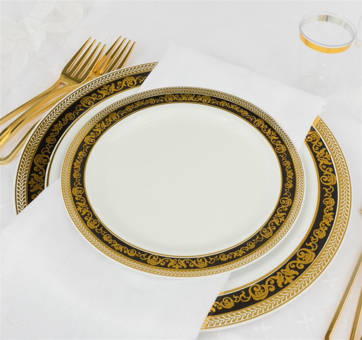 Royal Collection White w/ Black and Gold Royal Border Plastic Plates - 10ct - Choose  sc 1 st  The Closeout Connection & Royal Collection White w/ Gold and Gold Border