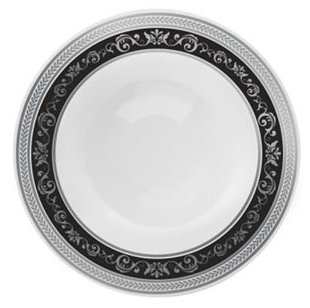 Royal Collection White w/ Black and Silver Royal Border Plastic Bowl - 10ct - Choose Bowl Size
