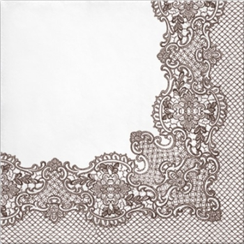 White with Brown Lace Design Decorative Napkins, 20 ct - Dinner Party & Holiday Napkins