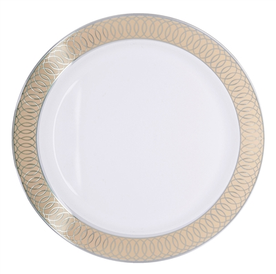 Spiral Collection Ivory & Silver Plates - 10 count, spiral design plastic plates, spiral disposable dishware, luxury plastic party plates