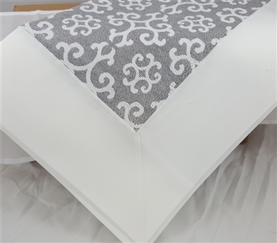 Silver Snowflake Damask Tablecloth