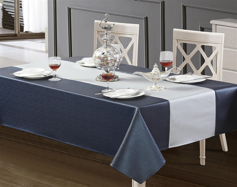 Windsor Deep Blue and White Silver Faux Leather Tablecloth, luxury pleather tablecloths, leather table linens